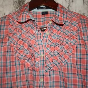 GAP Long Sleeve Plaid Button Down Top Sz 2 ~Small